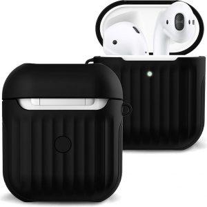 Hoes Voor Apple AirPods Case Hoesje Hard Cover Ribbels - Zwart