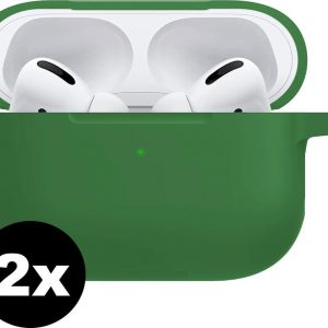 Hoes Voor Apple AirPods Pro Case Siliconen Hoesje - Donker Groen - 2 PACK