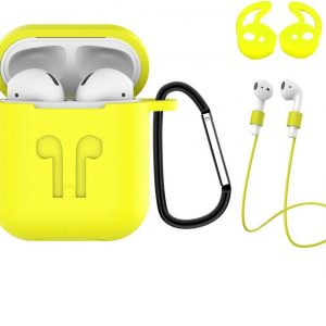 Hoes voor Apple AirPods 2 Hoesje Case 3-in-1 Siliconen Cover - Geel