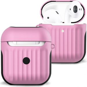 Hoesje Voor Apple AirPods Case Hoes Hard Cover Ribbels - Licht Roze