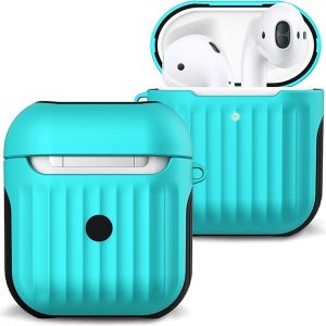 Hoesje Voor Apple AirPods Case Hoes Hard Cover Ribbels - Mint Groen