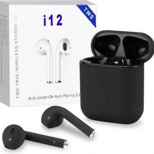 I12 TWS Black - Earbuds - Hoge Kwaliteit - Earphones - Touch - Draadloze Oordopjes - Alternatief Apple Airpods - Automatisch Verbinden - Bluetooth 5.0 - Black