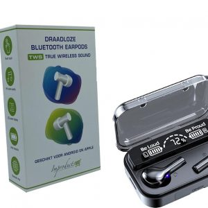 Improducts F5 Wireless Earphones - Draadloze Oordopjes - Draadloze Oortjes - Bluetooth Oordopjes - Earpods - Bluetooth Oortjes incl. powerbank Black / Zwart