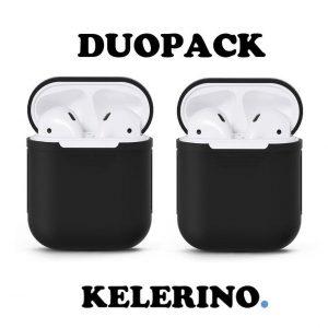 KELERINO. Siliconen hoesje voor Apple Airpods 1 & 2 - Duopack - Zwart / Zwart