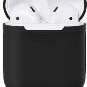 KELERINO. Siliconen hoesje voor Apple Airpods 1 & 2 - Softcase - Zwart