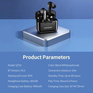 Lenovo QT 82 Draadloze Oordopjes - Met Oplaad Case - Bluetooth 5.0 / Zwart