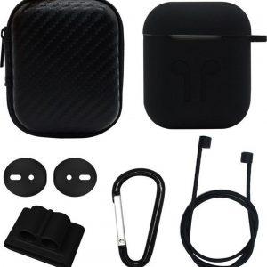 Let op type!! 6 in 1 oortelefoon tas + oortelefoon geval oortelefoons siliconen gesp + oordopjes + anti-Drops gesp + anti-verloren touw draadloze oortelefoon Silicone Case Set voor Apple Airpods (zwart)