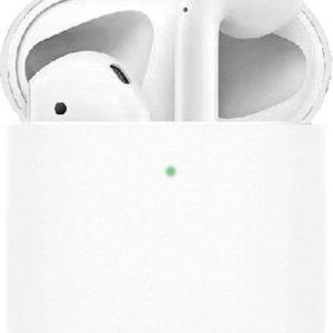 Let op type!! Dunne vloeibare silicone oortelefoon beschermende case voor Apple AirPods 2 (wit)