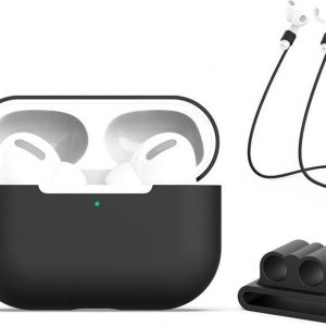 Let op type!! Voor AirPods Pro 3 in 1 silicone oortelefoon beschermhoes + oortelefoon gesp + anti-verloren touw set (zwart)