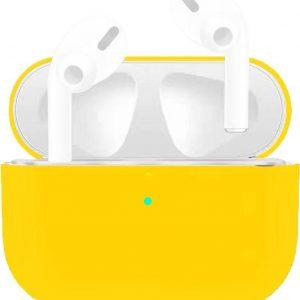 Let op type!! Voor Apple AirPods Pro Ultra-Thin Liquid silicone draadloze oortelefoon beschermhoes (geel)