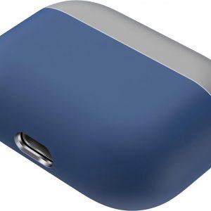 Let op type!! Voor Apple AirPods Pro twee-kleuren draadloze oortelefoon beschermhoes (grijs blauw)