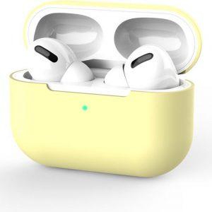 Medicca - Airpods Pro Case - Airpods Pro Hoesje - Airpods Pro Siliconen - Airpods Pro Cover - Airpods Pro Bescherming - Airpods Case - Geschikt voor Airpods Pro - Pastel geel