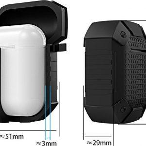 Mobigear Karabijnhaak Shockproof Armor Siliconen Cover Rood voor Apple AirPods