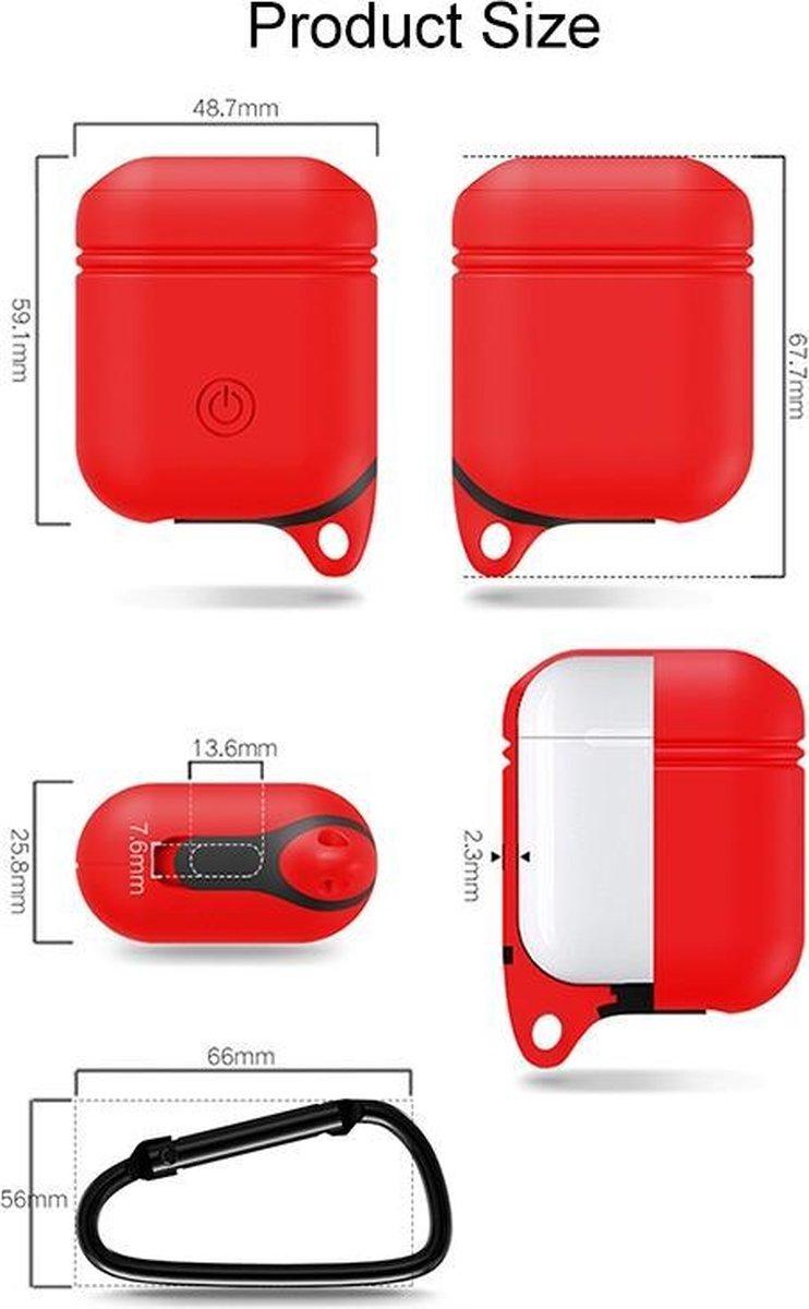 Mobigear Siliconen Hoesje Karabijnhaak Blauw voor Apple AirPods