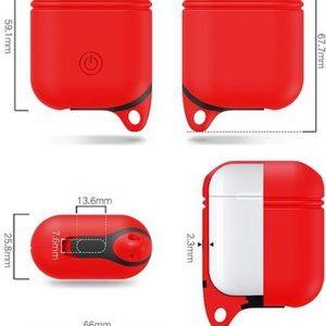 Mobigear Siliconen Hoesje Karabijnhaak Rood voor Apple AirPods
