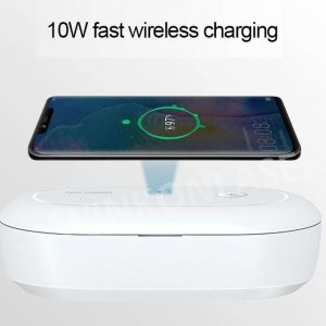 Mobile Phone Wireless Charging Sterilizing UV + Ozon Box |voor iPhone / Samsung / Airpods / QI geschikte Smartphones | Draadloze Oplader 10W Qi Fast Charger |Desinfectie Box