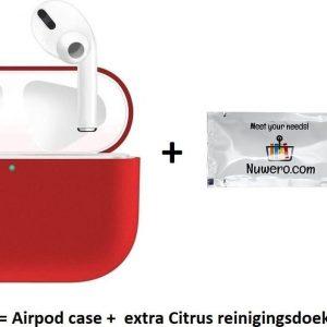 Nuwero - Airpods Pro Case/Hoesje - HOOGWAARDIGE KWALITEIT - Airpods Pro Siliconen - Airpods Pro Cover - Airpods Pro Bescherming - Airpods Case - Geschikt voor Airpods Pro - ROOD + Nuwero cleaning Doekje