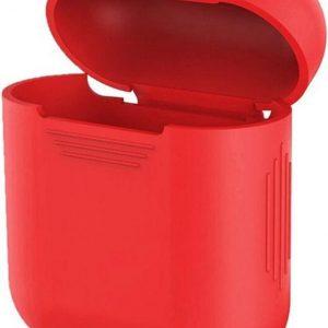 QBlocks Airpods Hoesje Rood - Siliconen Case - Airpod Case geschikt voor Airpods 1 en 2