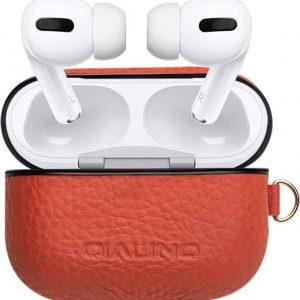 Qialino Luxe Leren Case voor de Apple Airpods Pro - Bruin