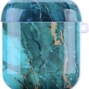 Shieldcase Glossy Green Marmer Airpods Case - groen