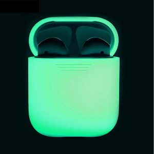 Silicone Case Cover Hoesje voor Apple Airpods - Wit/Glow in the dark
