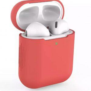 Siliconen Bescherm Hoesje Cover voor Apple AirPods Case - Airpods Hoesje Siliconen Case Rood (Red)