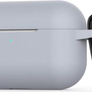 Siliconen Case Apple AirPods Pro grijs - AirPods hoesje grijs met Haak - AirPods case