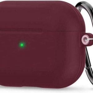 Spigen Siliconen AirPods Pro hoesje - Airpods Pro Case - Burgundy - met gratis haak