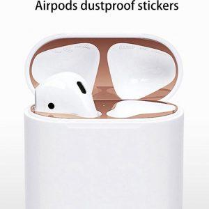 Sticker geschikt voor Airpods - Accessoire voor Airpods - Anti magnetisch stof - Vuil bescherming - Goud 2 stuks