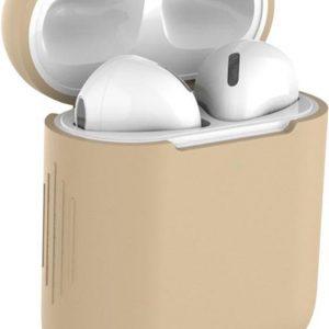 Studio Air® Airpods Hoesje Siliconen Case - Army Series - Soepel Airpod Hoesje - Khaki - Voor Airpods 1 en 2