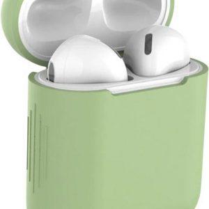Studio Air® Airpods Hoesje Siliconen Case - Army Series - Soepel Airpod Hoesje - Licht Groen - Voor Airpods 1 en 2