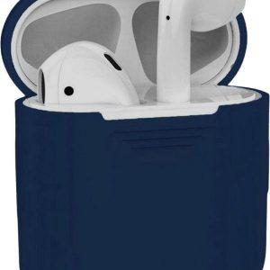 Studio Air® Airpods Hoesje Siliconen Case - Soepel Airpod Hoesje - Donker Blauw Grijs - Voor Airpods 1 en 2