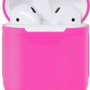 Studio Air® Airpods Hoesje Siliconen Case - Soepel Airpod Hoesje - Fel Roze - Voor Airpods 1 en 2