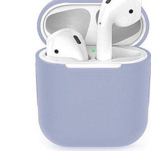 Studio Air® Airpods Hoesje Siliconen Case - Soepel Airpod Hoesje - Lila grijs - Voor Airpods 1 en 2