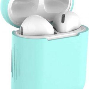 Studio Air® Airpods Hoesje Siliconen Case - Soepel Airpod Hoesje - Mint Groen - Voor Airpods 1 en 2