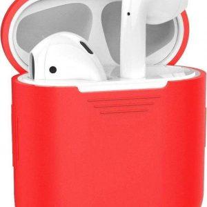 Studio Air® Airpods Hoesje Siliconen Case - Soepel Airpod Hoesje - Rood - Voor Airpods 1 en 2