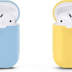 VOORJAARSACTIE Voordeelset 2 stuks Apple Airpods Siliconen - Case - Cover - Hoesje - Geschikt voor Apple Airpods 1 en 2 - Blauw / Licht Geel