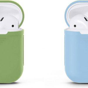 VOORJAARSACTIE Voordeelset 2 stuks Apple Airpods Siliconen - Case - Cover - Hoesje - Geschikt voor Apple Airpods 1 en 2 - Licht Groen / Blauw