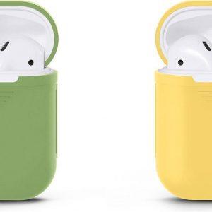 VOORJAARSACTIE Voordeelset 2 stuks Apple Airpods Siliconen - Case - Cover - Hoesje - Geschikt voor Apple Airpods 1 en 2 - Licht Groen / Licht Geel
