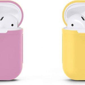 VOORJAARSACTIE Voordeelset 2 stuks Apple Airpods Siliconen - Case - Cover - Hoesje - Geschikt voor Apple Airpods 1 en 2 - Lila / Licht Geel