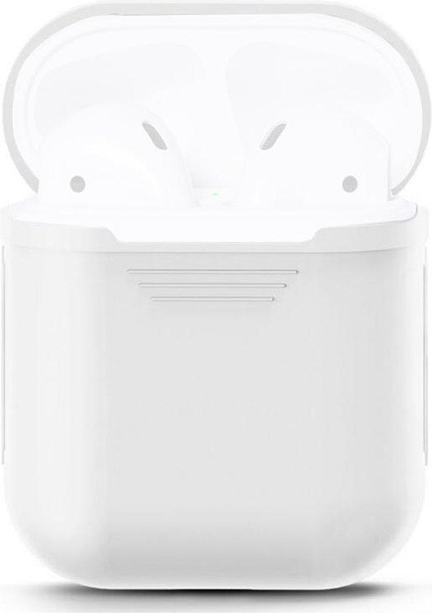 Voor Apple AirPods draagbare draadloze Bluetooth koptelefoon siliconen beschermende doos iPhone Anti-lost Dropproof opbergtas (oortelefoon niet meegeleverd)(White)