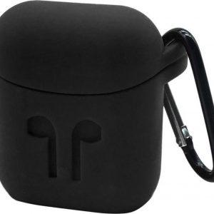 Voor Apple AirPods draagbare draadloze Bluetooth koptelefoon siliconen beschermende doos iPhone anti-verloren Dropproof opslag tas met Hook(Black)
