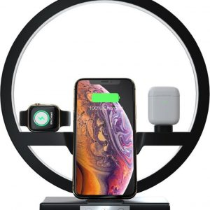 YONO LED Bureaulamp met Qi Draadloze Oplader Apple - Oplaadstation iPhone, iWatch, AirPods - Snellader - Docking Station