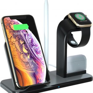 YONO Oplaadstation iPhone 4 in 1 - QI Draadloze Oplader iPhone, Apple Watch, Airpods en Pencil - Qi Wireless Charger - Snellader - Docking Station