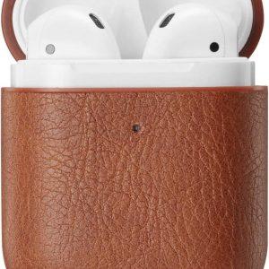 YPCd® Apple AirPods Hoesje - Bruin- PU leer Hard Case