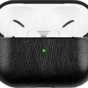 YPCd® Apple AirPods Pro Hoesje - Zwart - PU leer Hard Case