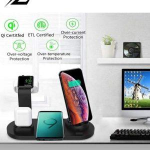 Zorix®- 3 in 1 Draadloze Oplader - Oplaadstation iPhone/Samsung - Qi Draadloze Oplader - Apple/SamsungWatch - AirPods & iPhone/Samsung oplader-Zwart