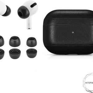 Zwart leren hoesje airpods pro + memory foam tips - black leather case - union leather - Foam tips grijs - Apple - In ear