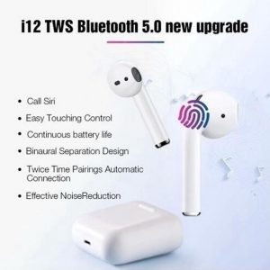 i12 TWS Volledig Draadloze Oordopjes Bluetooth Oortjes Draadloos Met Oplaadcase 2020 - Airpods Alternatief - Zwart