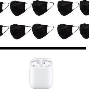 100 Zwarte Wegwerp Mondkapjes met Bluetooth Oordopjes